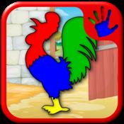 农场和动物拼图游戏-教育幼儿学前班和幼儿游戏的孩子