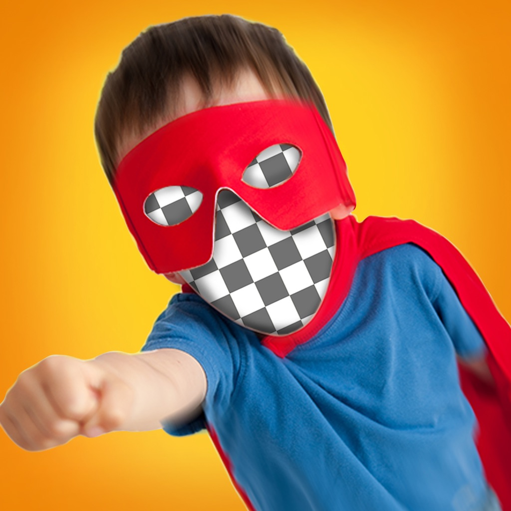 face in hole for instagram funny photo editing with superhero mask costume