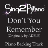 Don't You Remember (Originally Performed By Adele) [Piano Backing Karaoke Version]
