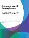 Commonwealth Pennsylvania V Rodger Mcfeely