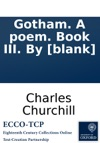 Gotham A Poem Book III By Blank