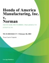 Honda Of America Manufacturing Inc V Norman