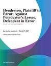 Henderson Plaintiff In Error Against Poindexters Lessee Defendant In Error