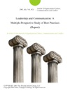 Leadership And Communication A Multiple-Perspective Study Of Best Practices Report