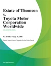 Estate Of Thomson V Toyota Motor Corporation Worldwide