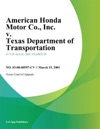 American Honda Motor Co Inc V Texas Department Of Transportation