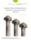 Standards Practices And Methods For The Use Of Administrative Claims Data Economics ARTICLES