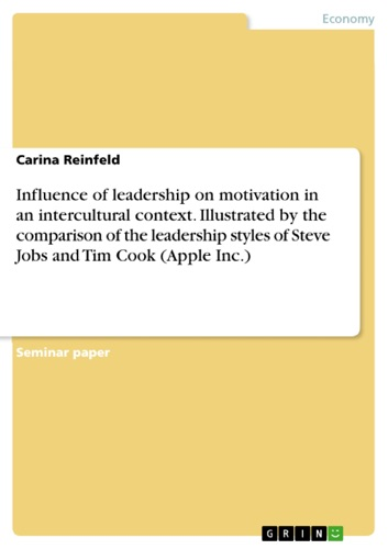 Influence of leadership on motivation in an intercultural context Illustrated by the comparison of the leadership styles of Steve Jobs and Tim Cook Apple Inc