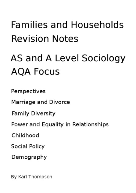 Sociology families and households essay