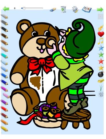 Coloriages de Noël pour les enfants pour iPad avec des crayons de couleurs - 36 dessins à colorier avec le Père Noël, des sapins, des lutins, et plus - GRATUIT screenshot 3