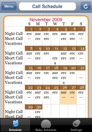 on call schedule