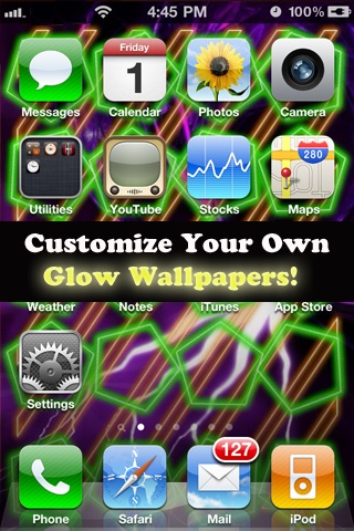 HD Glow Home Screen Designer For iPhone4(FREE)-Customize Your Home ...