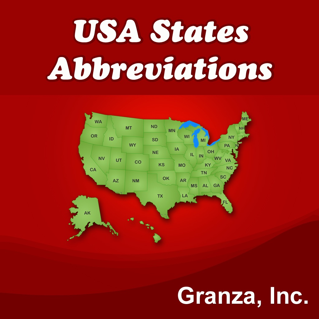 usa states abbreviations flash cards on the app store. Black Bedroom Furniture Sets. Home Design Ideas