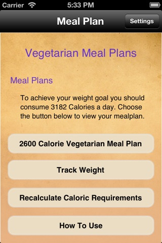 Meal Plans - Vegetarian 7 Day Meal Plans screenshot 1