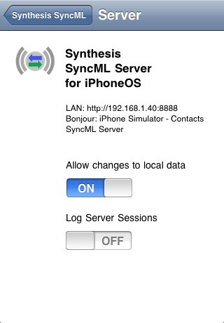 SyncML LITE for iOS screenshot 2
