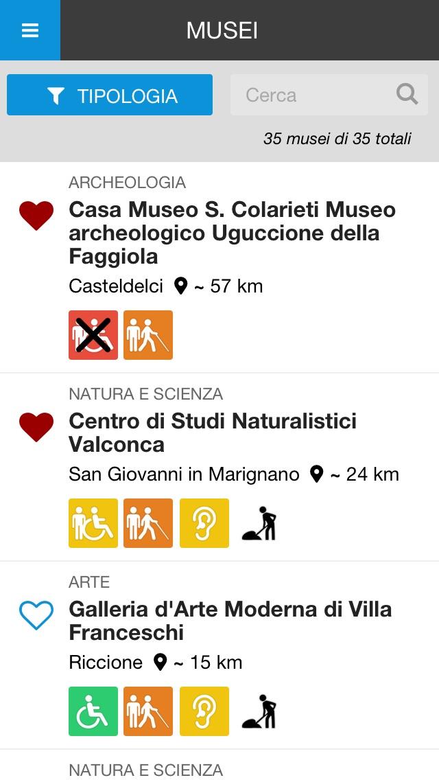 Screenshot of Rimini Musei Accessibili2