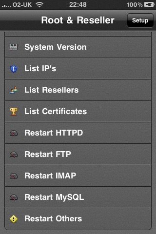 Screenshot of Control Panel Root & Reseller Manager