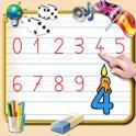 Aprenda a escrever os números de 0 a 9 - Com corta para aprender a contar e desenhos para colorir pa