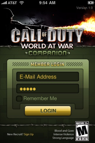 Screenshots of Call of Duty: World at War Companion for iPhone