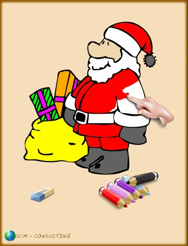 Coloriages de Noël pour les enfants pour iPad avec des crayons de couleurs - 36 dessins à colorier avec le Père Noël, des sapins, des lutins, et plus - GRATUIT screenshot 1