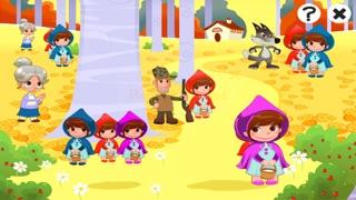 儿童游戏有关小红帽:游戏和拼图的幼儿园,学前班或幼儿园。 学习 与女孩,红色的斗篷,篮,狼,外婆,猎人在森林里!屏幕截图1