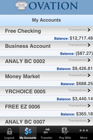 Ovation Bank 10 for iPhone - by JHA screenshot 2