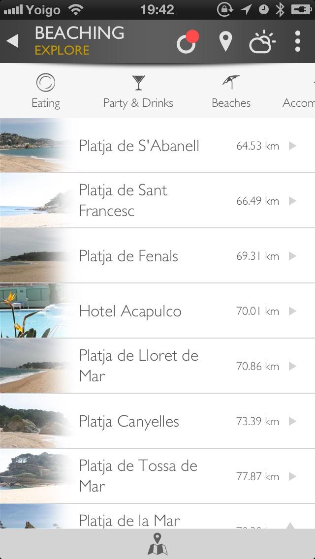 Screenshot of Beaching App Costa Brava3