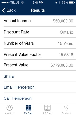 Henderson Present Value Calculator screenshot 1
