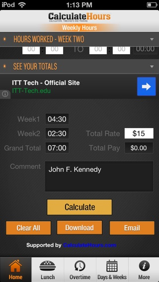 Time Card Calculator  Timeclock On The App Store