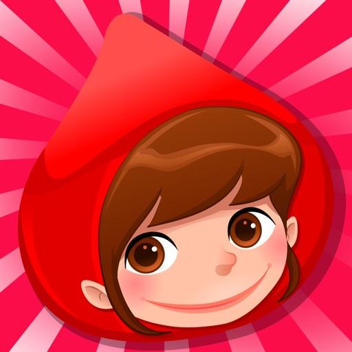 儿童游戏有关小红帽:游戏和拼图的幼儿园,学前班或幼儿园。 学习 与女孩,红色的斗篷,篮,狼,外婆,猎人在森林里!
