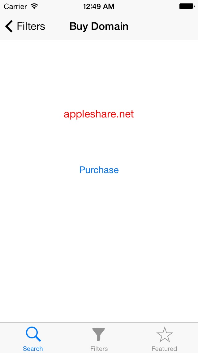 Expired Domains Screenshot on iOS