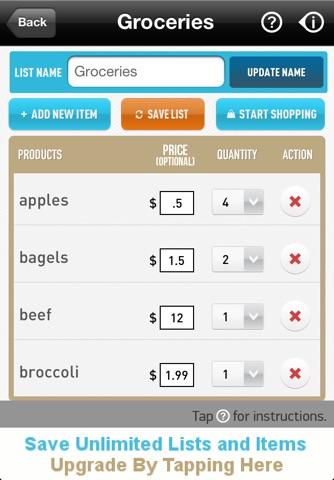 Ultimate Shopping List Lite screenshot 2