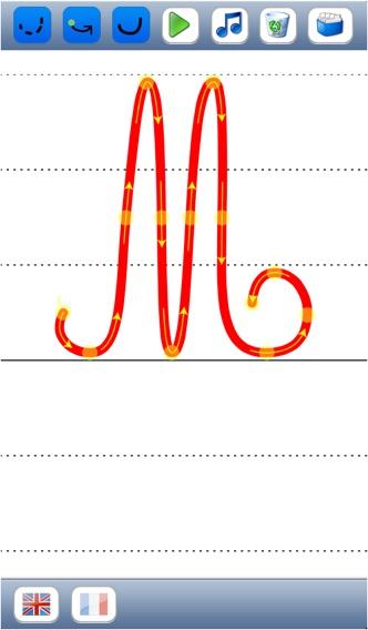 Учитесь писать скорописью буквы алфавита в верхнем и нижнем регистре со звуков в английском и французском языках - основы для детейСкриншоты 3