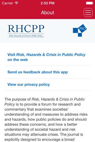 Risk, Hazards & Crisis in Public Policy screenshot 4