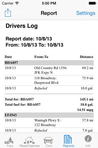 Travelreporter GPS milage log screenshot 4