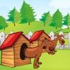 活動! 大小遊戲的孩子學習和玩的狗