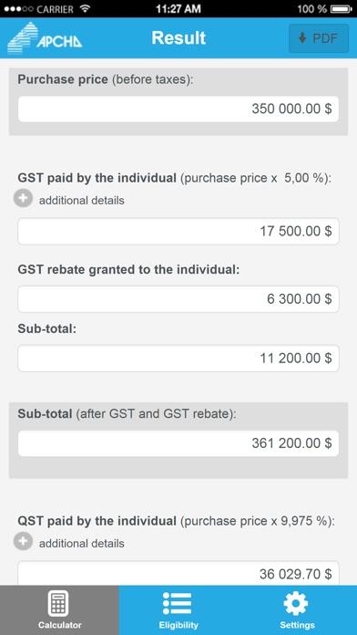 New housing tax and rebate calculator - APCHQ screenshot two