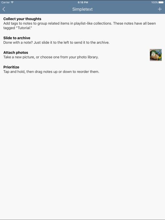 Simpletext - Plain Text Editor with Photos & Tags Screenshots