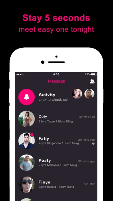 Screenshots of One Night Dating - Flirt & Hook Up With Hot Single for iPhone