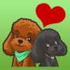 Lovely Couple Poodles Stickers message
