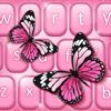 Temas rosa de teclado de mariposa con emoticonos