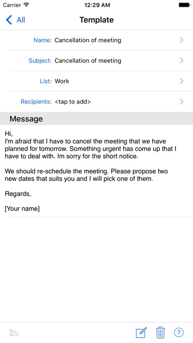 Email sms templates on the app store iphone screenshot 2 pronofoot35fo Images