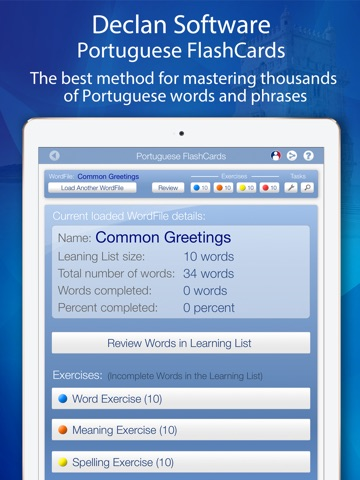 Declan Portuguese FlashCards for iPad screenshot 1