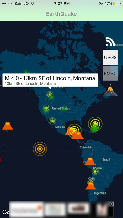 Quake Volcanoes Map Volcanic Eruptions On The App Store - Argentina volcanoes map