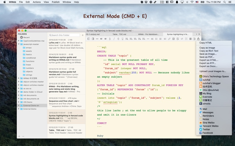 MWeb - Powerful Markdown App Screenshots