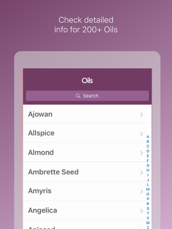 Essential Oils Reference Guide Screenshots