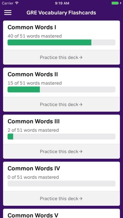 GRE Vocabulary Flashcards iPhone