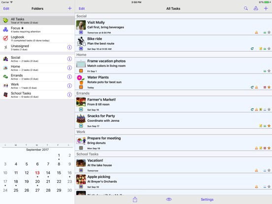 Screenshots of Errands To-Do List for iPad