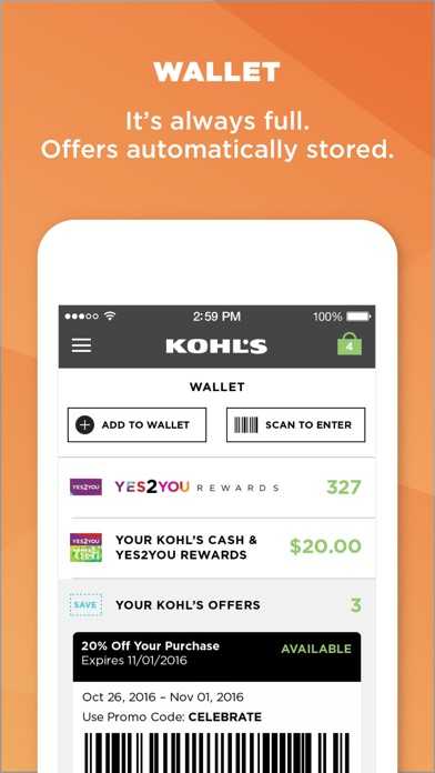 4518eb2ac0f6a5 Never miss a sale with our sales alert system. (Location Services    Notifications are required.) - Use the app while in a Kohl s store to check  out and get ...