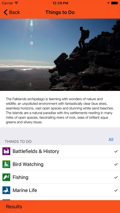 Screenshot of Falkland Islands Tourist Board App